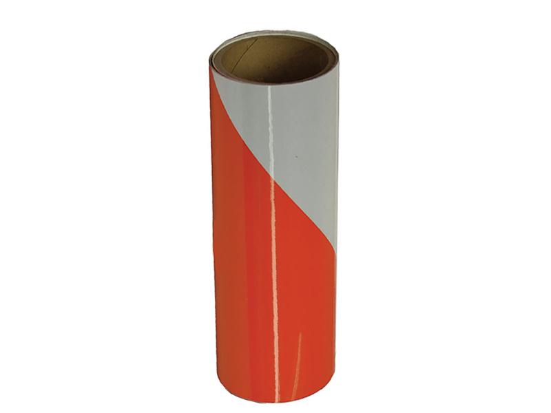 Orange and White Alternating Striped Reflective Tape ... |Reflective Barricade Tape