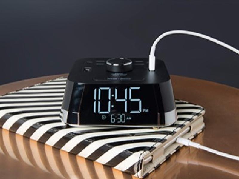 White - Desktop Charging Alarm Clock (2) USB & AC Outlets
