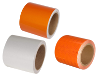 Multiple barrel drum channelizer reflective tape rolls. 2 orange and 1 white tape roll