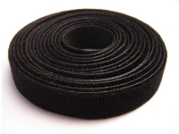 Roll of black hook and loop tie straps