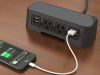 Black with grey top Burele in surface power and data 3 ac power, 1 USB ports, and 72