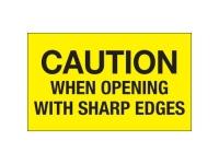 Caution Opening Sharp Edges Yellow