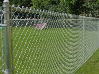 Chain link fence in use