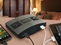 Brushed metalic horizontal chargeport desktop mount in use