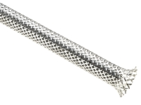 Chrome braided sleeving, silver