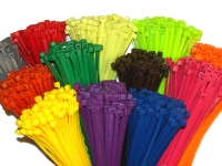 bundle of colored nylon cable ties and zip ties