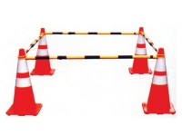 Safety cones forming safety barrier