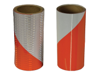 Cortina engineer grade high intensity reflective barricade tape with 50 yard roll. 2 tapes, one with right white stripe and the other with left orange stripe