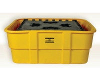 eag-1683-yellow polyethylene ibc spill tub with support for chemical spill containment