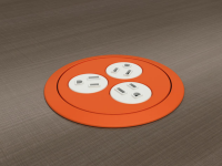 Eclipse circular 3AC powered desk grommet, multi colors installed