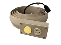 Beige electrical extension cord cover with duplex outlets