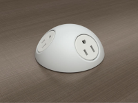 White hemisphere desk power grommet with 3 a/c power and 120