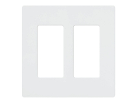 Two gang Lutron claro screw-less wall plate in white color