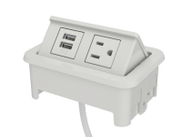 White nacre 2-port open power and data grommet with 1 USB port, 1 ac power, and 72