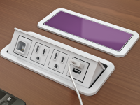 White nacre 4-port open power and data grommet with 2 ac power, 2 USB ports, and 72