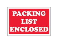 Packing List Enclosed White Text