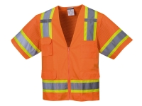 portwest us373or hi vis construction vest short sleeve