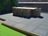 rubber rooftop paver tiles in use on patio application