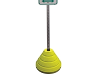 weighted yellow sign post base holding sign with square post hole