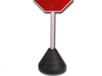 weighted black sign post base holding sign with round post hole