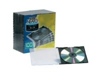 Pack Kontrol Slim Line CD Jewel Cases with Clear Lid & Black Base - 200 Pcs