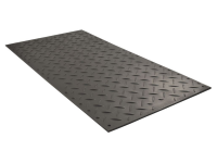 Black standard ground protection alturnamat with diamond tread, dimension include 2' x 4', 3' x 6', and 4' x 8'