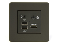 Black mediahub UHD in surface power & data grommet, TA-3360-bk