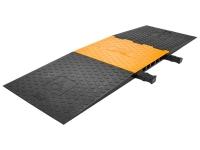 Titan ADA Cable Protector Ramp - 5 Channels - Yellow Lid / Black Base - Heavy Duty Polyurethane