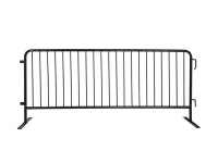 Black vinyl coated steel crowd control barrier with flat feet,8' length, and 43
