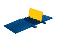 Yellow Jacket ADA ramp, blue with yellow lid