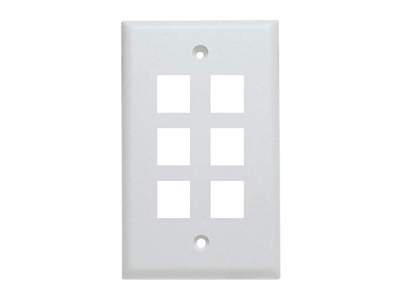 5 Pack of 6 Keystone Port Single Gang Data Wall Plates White
