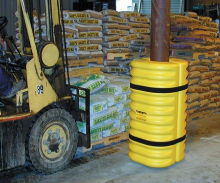 42 Height 13 Width Yellow 13 Length Eagle 1704 Blow-Molded High Density Polyethylene Column Protector for 4-6 Column with Easy to Install Straps