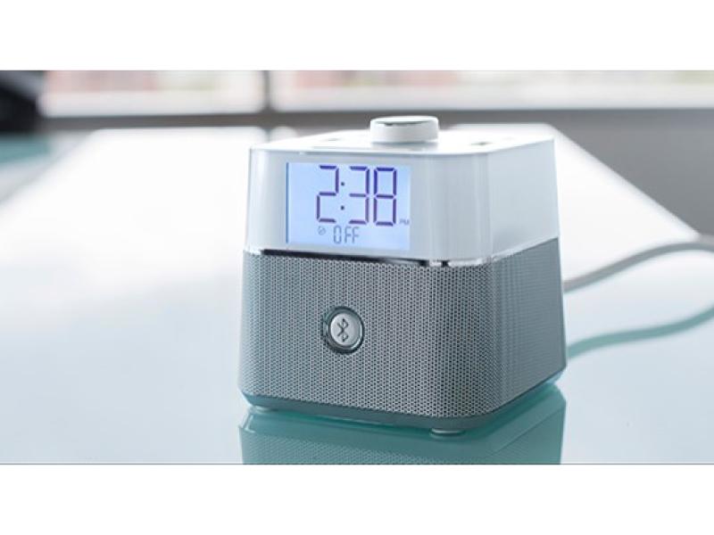 White - Desktop Charging Bluetooth Alarm Clock (2) USB & AC Outlets